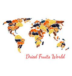 Map of dried fruits snacks raisins prunes vector