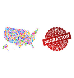 Migration collage of mosaic map of usa territories vector