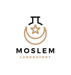 Moslem laboratory outline crescent moon star logo vector
