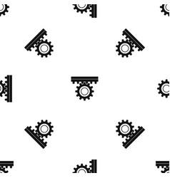 One gear pattern seamless black vector