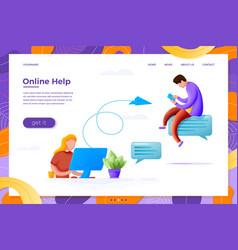 Online help cartoon girl send mail to man vector