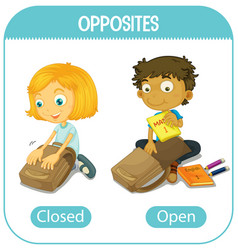 Opposite words with closed and open vector