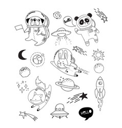 Outer space concept - cute animal astronauts vector