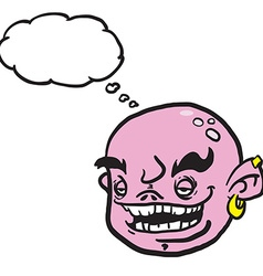 Pink cartoon face with thought bubble vector