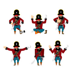 pirate set poses and motion filibuster happy and vector image
