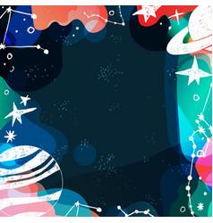Planets stars hand drawn art backdrop vector