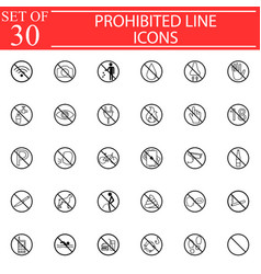 Prohibited signs line icon set forbidden symbols vector