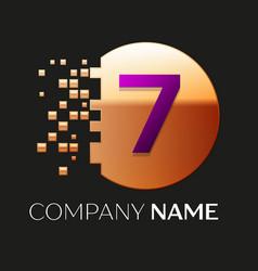 purple number seven logo in golden pixel circle vector image