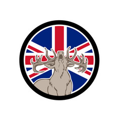 Red deer union jack flag icon vector