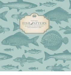 retro fish pattern vector image