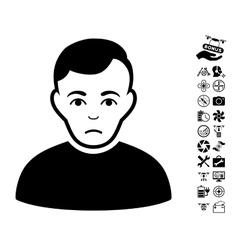 Sad Man Icon With Flying Drone Tools Bonus vector image