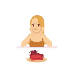 sad woman sitting at table and looking at cake vector image