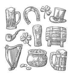 Saint Patrick Day hat Pot coins pipe beer vector image