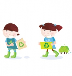 school children with recycle symbol vector image vector image