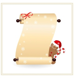 Scrolled paper witn gingerbread cookie vector