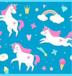 seamless pattern unicorns magical horses rainbow vector image