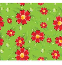 Seamless red flowers vector image