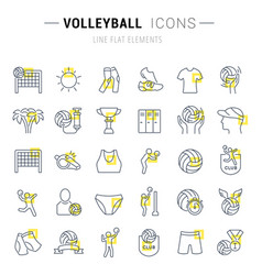 Set line icons volleyball vector