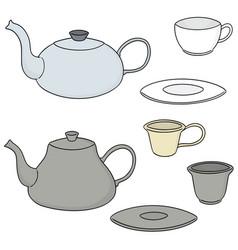 set of coffee or tea set vector image
