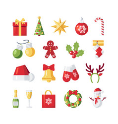 set of simple christmas icons in flat style vector image