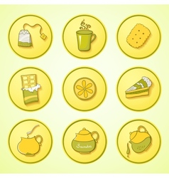 Set tea and sweets round icons vector image