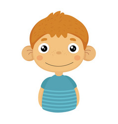 Smiling content cute small boy with big ears in vector