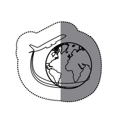 Sticker silhouette airplane around earth world vector