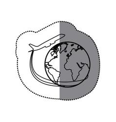 sticker silhouette airplane around earth world vector image