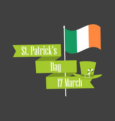 stpatrick s day ribbon with text and flag vector image vector image