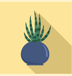 striped cactus pot icon flat style vector image