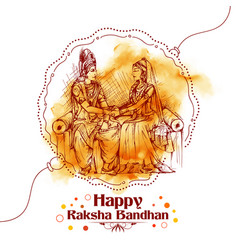 Subhadra tying rakhi to krishna on raksha bandhan vector