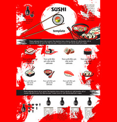 sushi and seafood dishes menu template design vector image