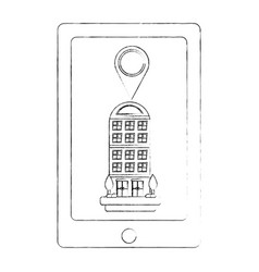 tablet device with building structure and pin vector image