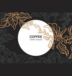 Template branch coffee black 4 vector