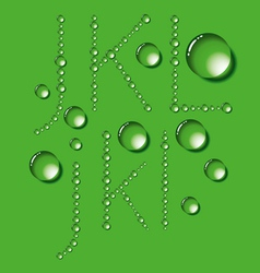 Water Drop Letters On Green New 04 vector image