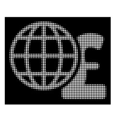 white halftone global pound finances icon vector image