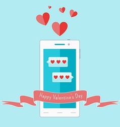 White smartphone with love sms and ribbon vector image