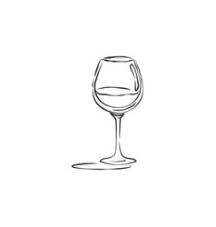 Wineglass red wine with shadow drink element vector