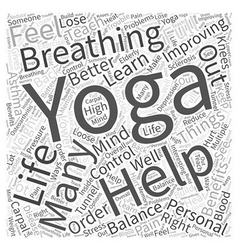 Yoga in Improving Personal LIfe Word Cloud Concept vector image