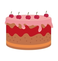 birthday cake dessert candles cherry isolated vector image vector image