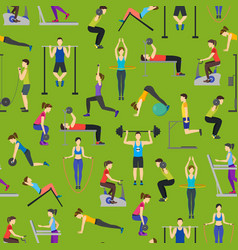 cartoon people workout exercise in gym background vector image