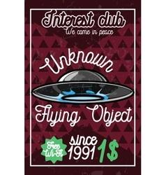 Color vintage ufo poster vector image