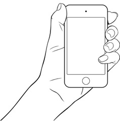 Hand holding a small tablet pc vector image vector image