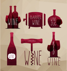 icon set - wine from the different vector image vector image
