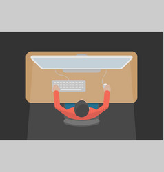man is working at a computer indoors vector image