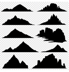 mountain ranges black silhouettes set vector image vector image