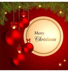 Sparkling Christmas Crystal Ball on Red Background vector image