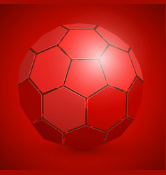 abstract soccer 3d ball red vector image vector image