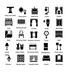 set of interior and decoration glyph icons 8 vector image