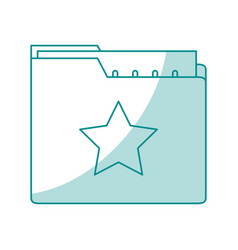 blue shading silhouette of folder with files sheet vector image